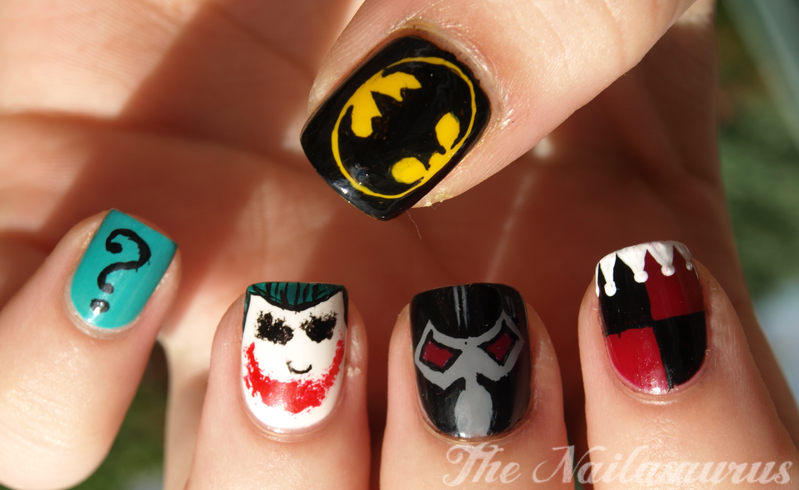 ... think these need much commentary, I don't know anyone who hasn't heard  of Batman. Today's nails are based on the masked vigilante and his various  foes! - Just Like The Movies: Batman Nail Art - The Nailasaurus UK Nail