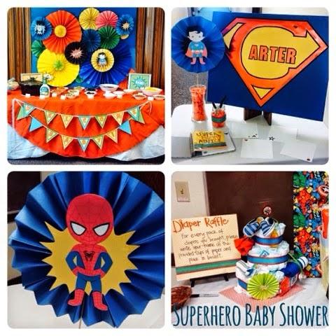 teal tulips superhero baby shower