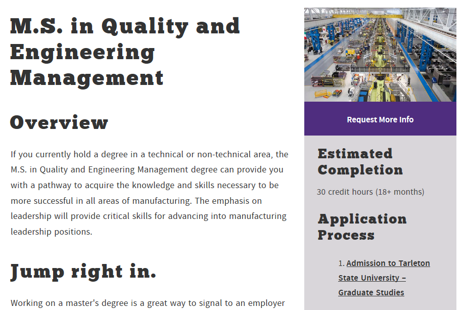 Academic degree program page featuring new modules