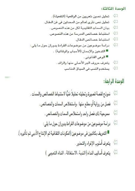 حصريا فهرس كتاب اللغة العربية الجديد 2016 للثانوية العامة  2