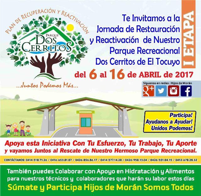 Los @HIJOSDEMORAN8 invitan a la recuperación del Parque Dos Cerritos, del 6 al 16 de abril
