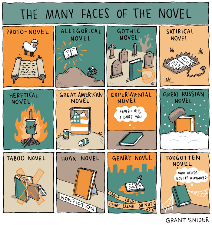 The Many Faces of the Novel from Grant Snider