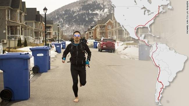 Joseph Michael Liu Kai-Tsu Roqueni, a young engineer from Montreal, is planning to raise money for charity by running 19,000 kilometers, from Canada to Argentina, within 18 months, barefoot.