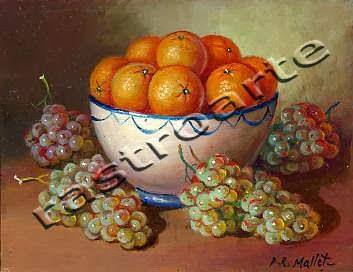 Bodegón con bol de cerámica decorada, naranjas y uvas