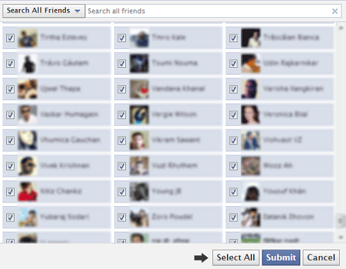 How to Select all friends in one click on Facebook