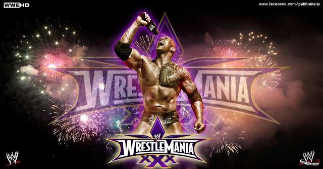 "wwe wrestlemania xxx 2014 Poster "" The Rock """