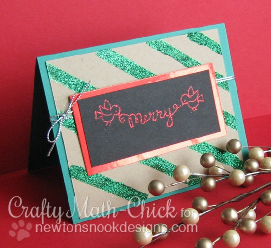 Merry Sparkles Card by Crafty Math-Chick | Holiday Wishes & Winged Wishes stamp sets by Newton's Nook Designs #newtonsnook