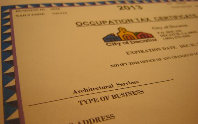Sample business license for Decatur (county seat of DeKalb County)