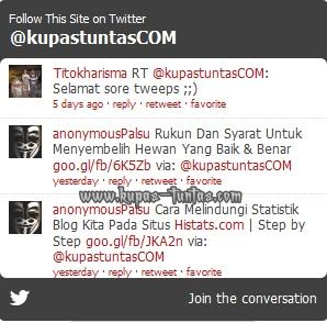 Contoh Tampilan Widget Status Twitter Pada Blog - [www.kupas-tuntas.com]