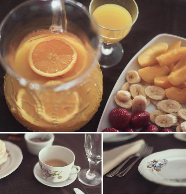 zumo, fruta y vajilla vintage