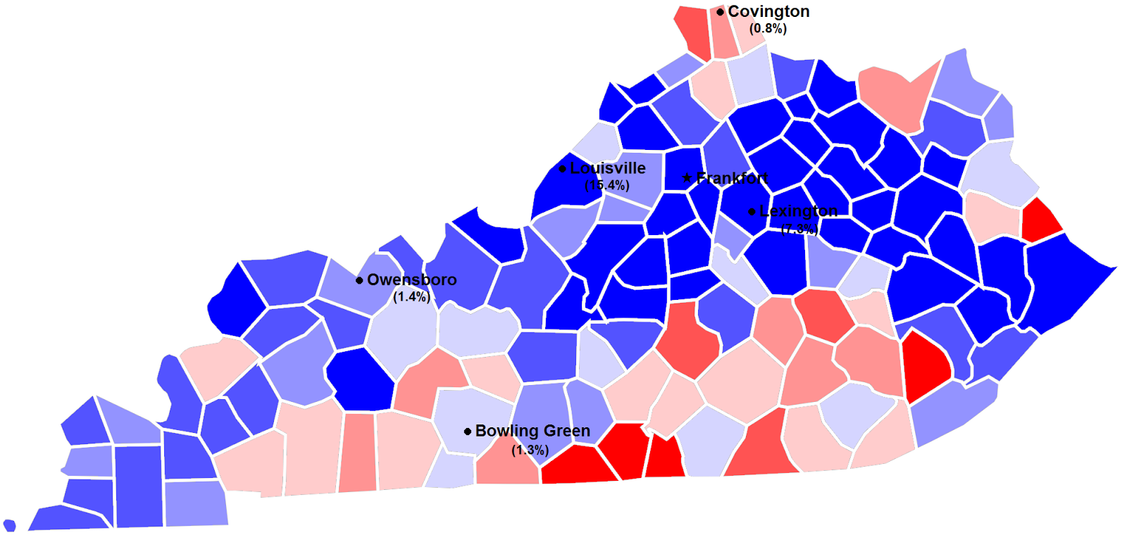 2011 kentucky secretary of state election by county and margin