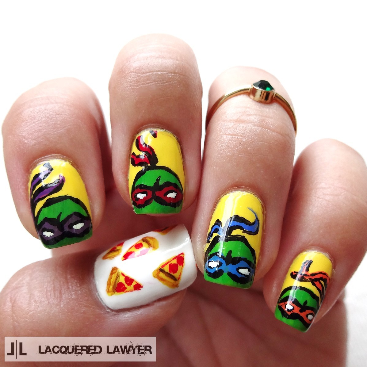Teenage Mutant Ninja Turtle Nail Art - Lacquered Lawyer Nail Art Blog: Heroes In A Half Shell