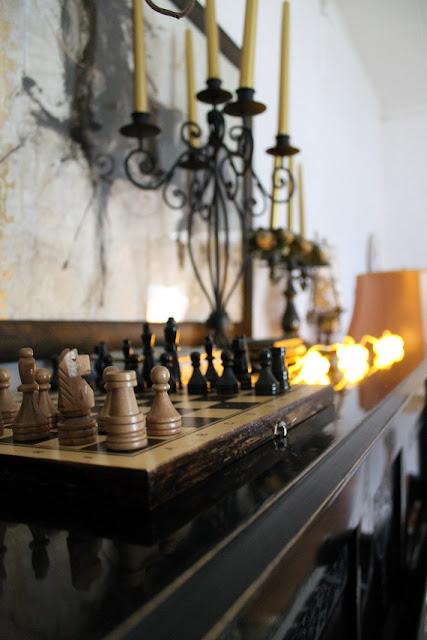 shakkilauta, taulu, kynttilänjalka, valaisinsarja, tunnelmavalot