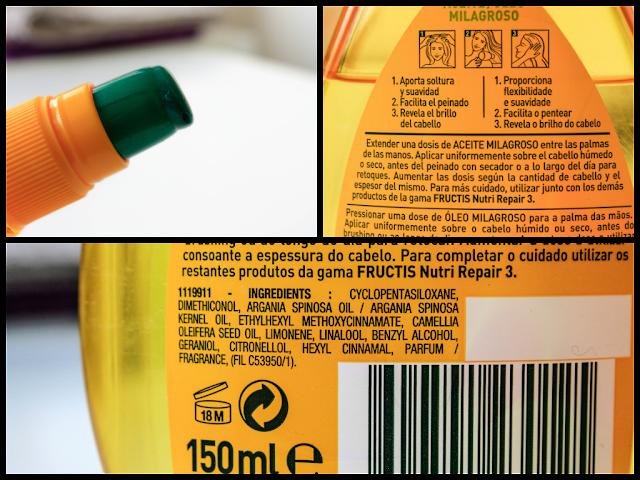 Garnier Fructis Aceite Milagroso ingredientes