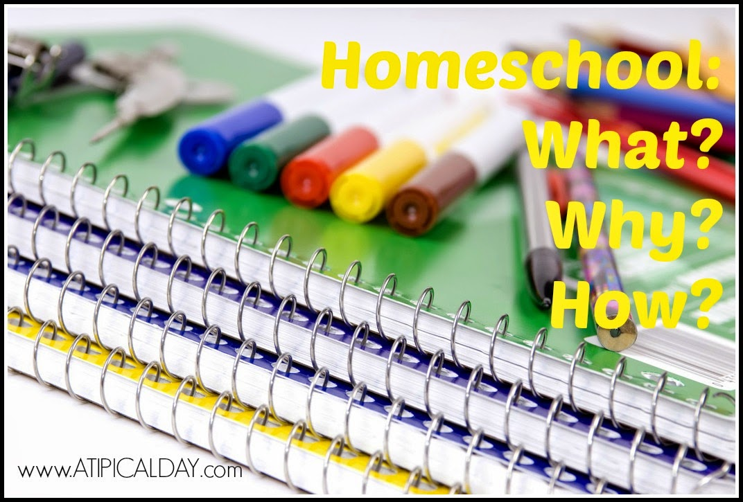 Spiral notebooks with pencils, pens and markers sitting on it.  Homeschool - What? Why? How? @ATIPicalDay #homeschool #homeschoolinghelp #whyhomeschool #howtohomeschool #homeschoolingmethods #whatishomeschooling #homeschoolingmultiplegrades