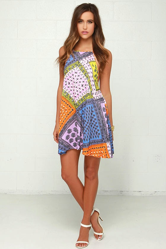 Mink Pink Sunset Patchwork Multi Print Halter Dress