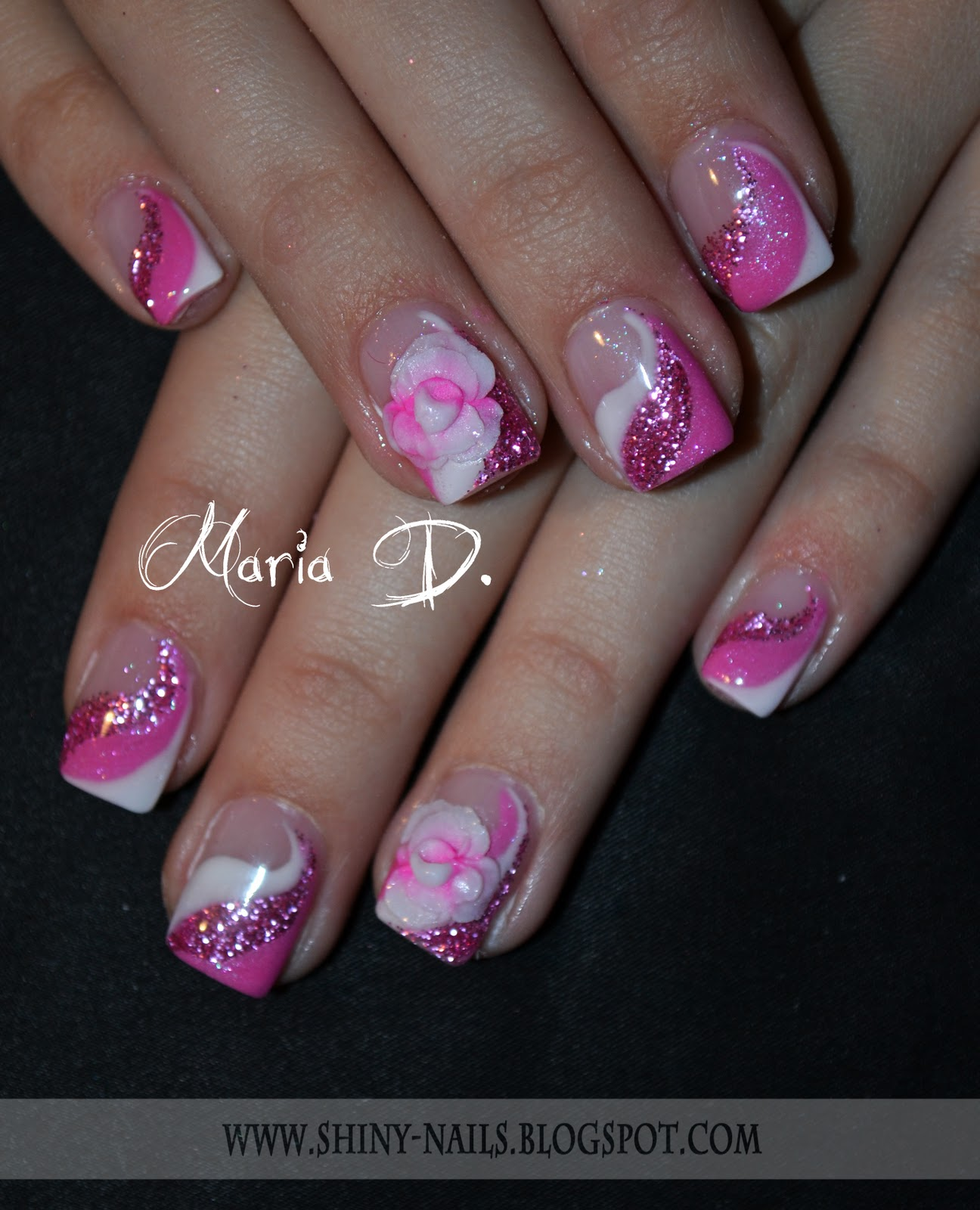 Gel nail protection - Design made of color gels - white, metallic pink