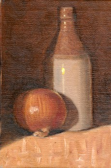 Oil painting of a brown onion in front of an antique earthenware ginger beer bottle.