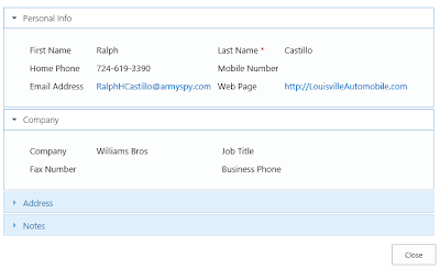 SharePoint form with accordion