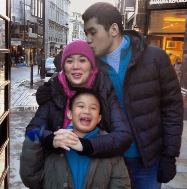 Kris Aquino with Josh and Bimby in London