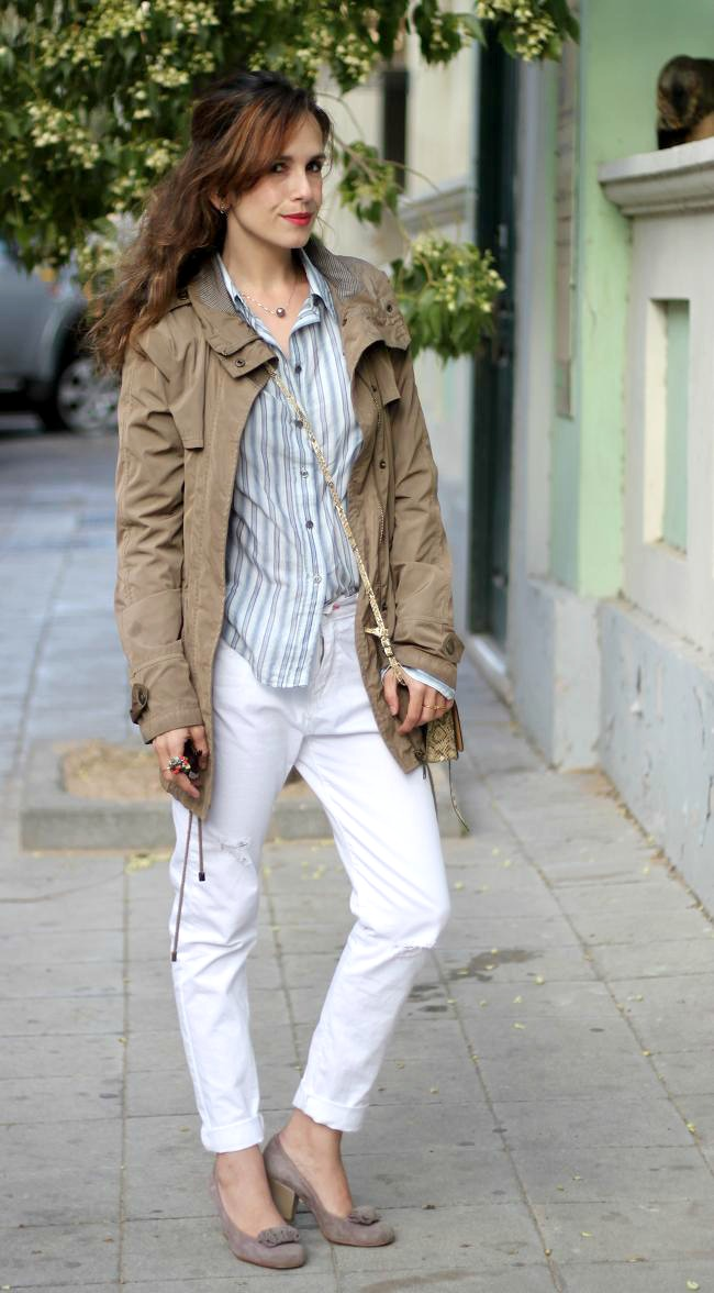 white jeans, zara, look, stripes, casual,girlmeetboy