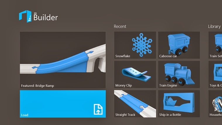 Microsoft says: 3D Builder is a fun application, easy to use and free for Windows 8.1 that helps you turn your digital objects in physical form while exploring the fascinating world of 3D printing,