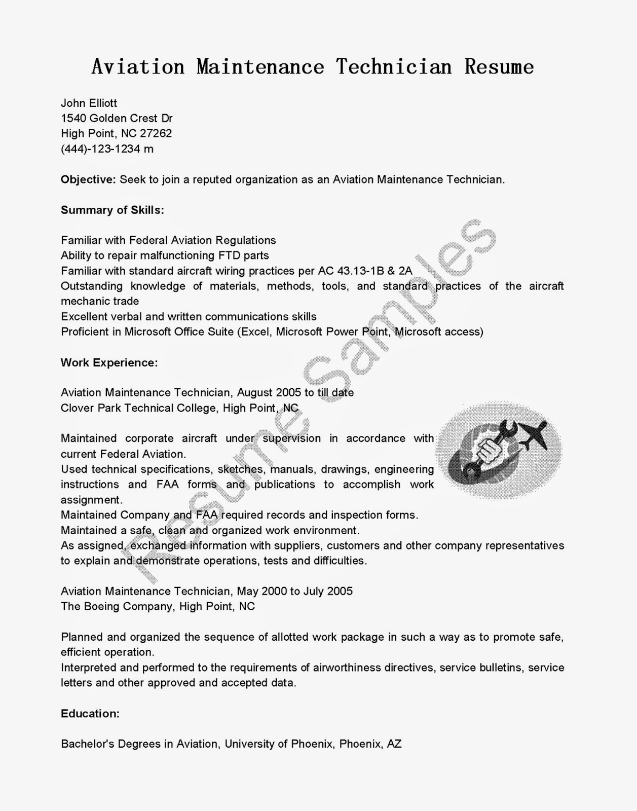 resume samples aviation maintenance technician resume sample