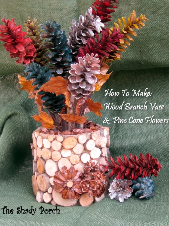 Wood Branch Vase & Colorful Pine Cone Arrangement