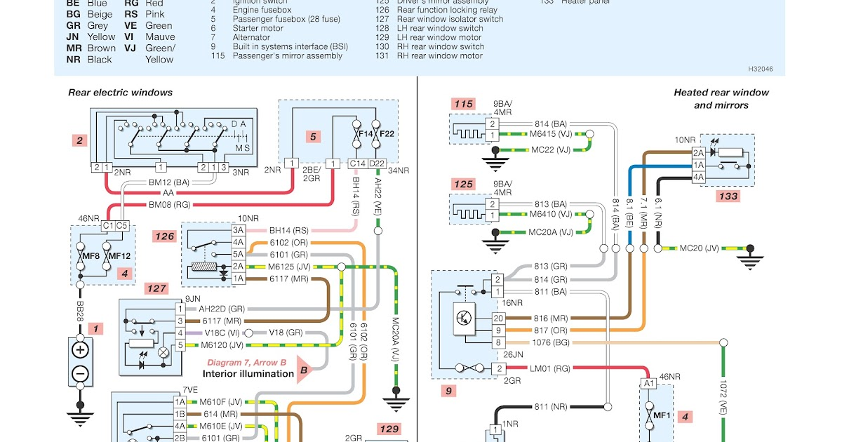 peugeot 206 wiring diagrams rear windows heated rear window and mirrors schematic wiring