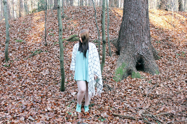 in the woods, poncho, dress