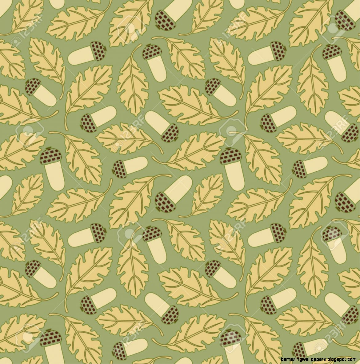 Acorn And Oak Leaves In Pattern Royalty Free Cliparts Vectors