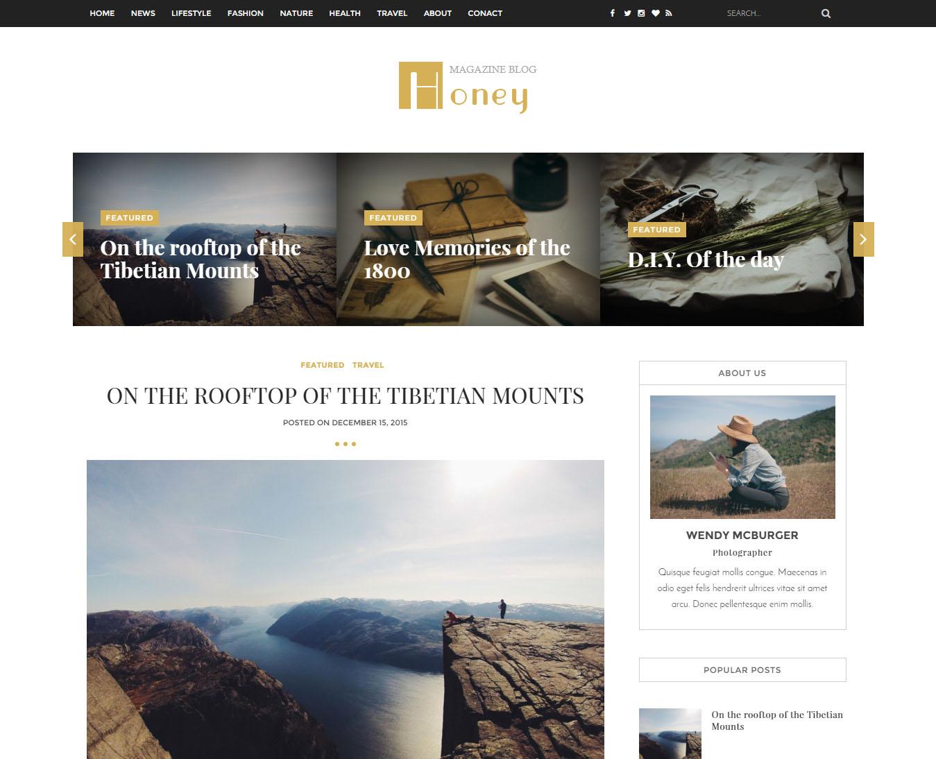 honey a responsive blogger theme