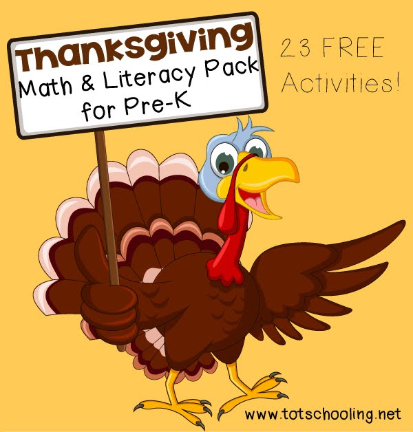 Totschooling toddler and preschool educational printable for Pre k thanksgiving crafts