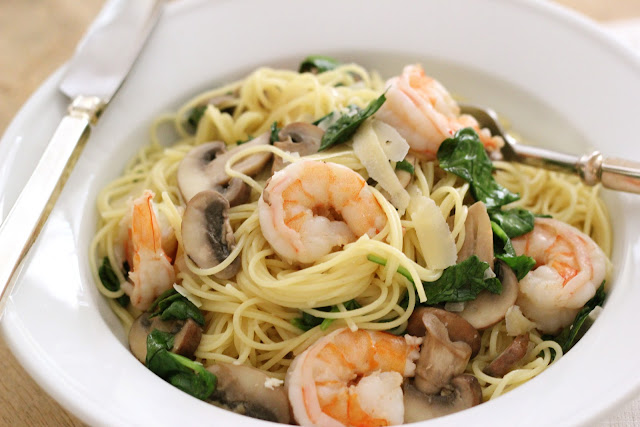 ... , Baby Portobello & Spinach Pasta in a Creamy White Wine Lemon Sauce