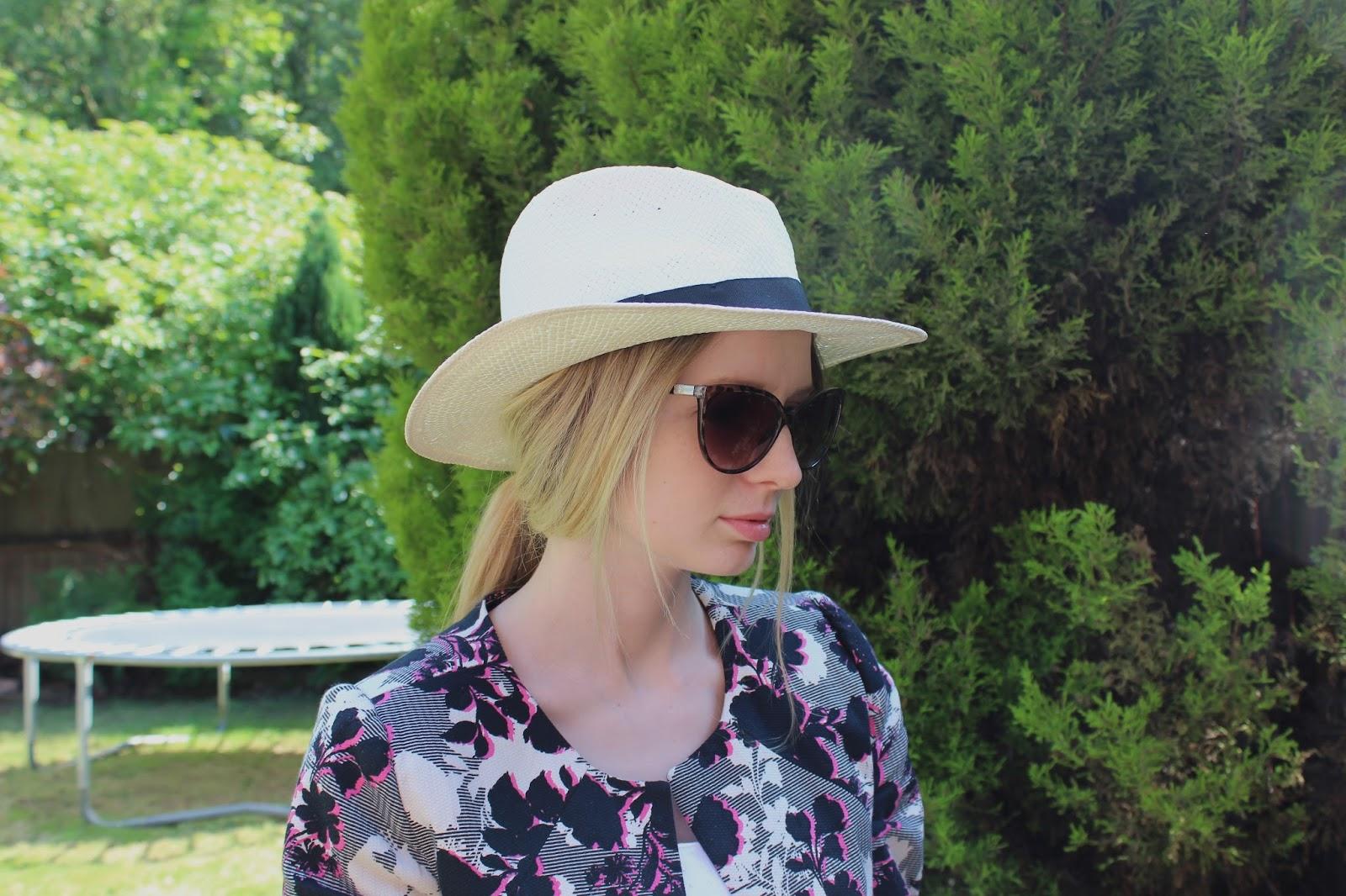 Close up of panama hat and sunglasses