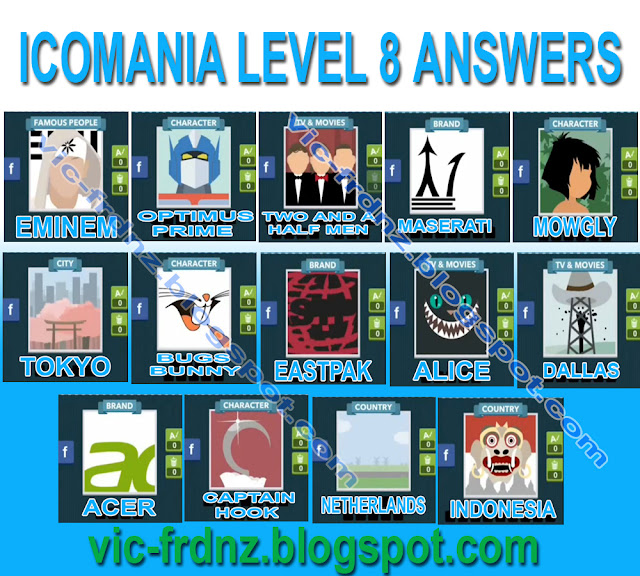 ... Level 5; and Levels 1-4. Please share this Icomania Level 8 answers to