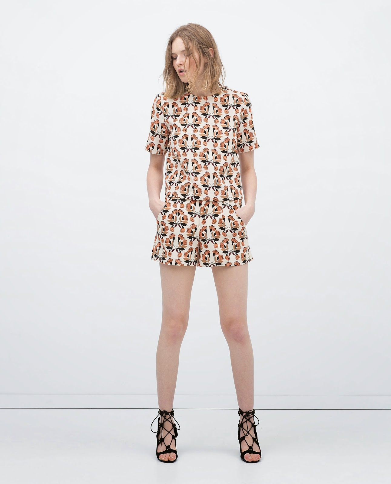 zara printed top and shorts