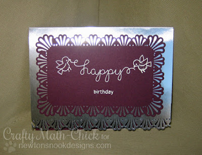 Purple birdies birthday card by Crafty Math Chick | Winged Wishes & Holiday Wishes by Newton's Nook Designs