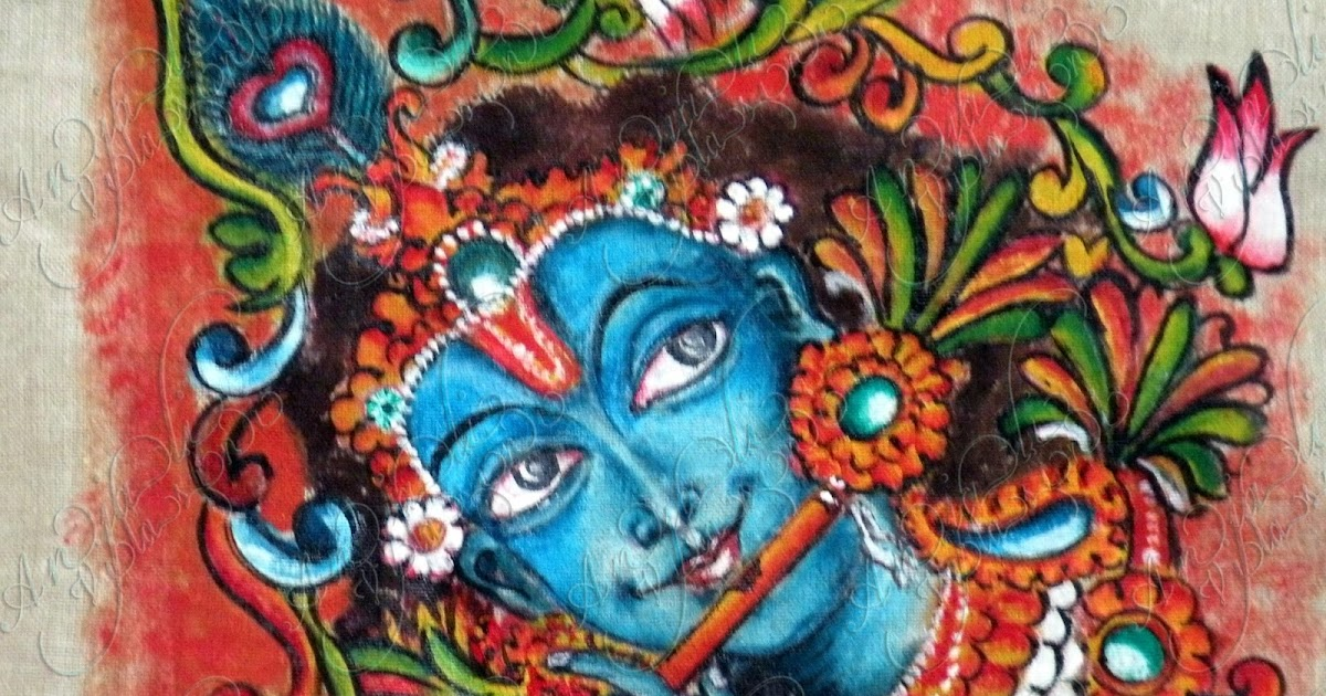 Anjali vilasini venugopal mural painting on fabric for Aithihya mural painting fabrics