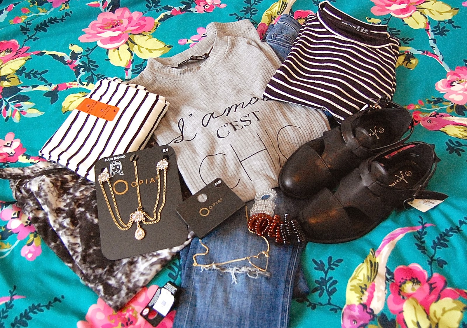 primark, dress, sandals, necklace, jewellery, headband, jeans, stripes, tops, bobbles, elastic bobbles, cord bobbles, fashion, ootd, ss15, wiwt, tyedie