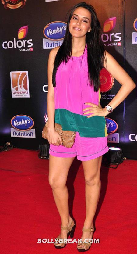 Neha Dhupia Purple Dress - (17) - Celebrity Pictures in Neon Dresses - Bollywood, Hollywood