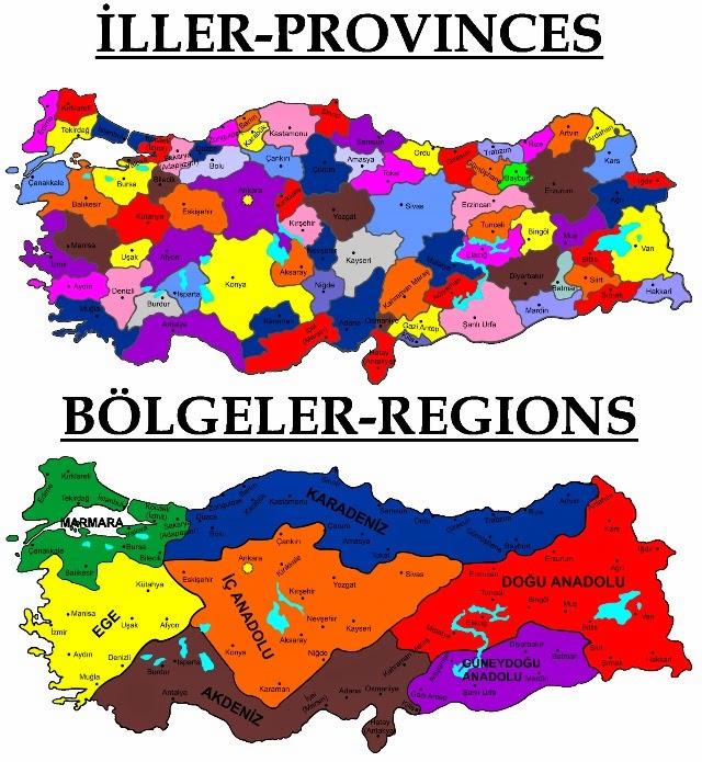 Турция карта регионы и провинции