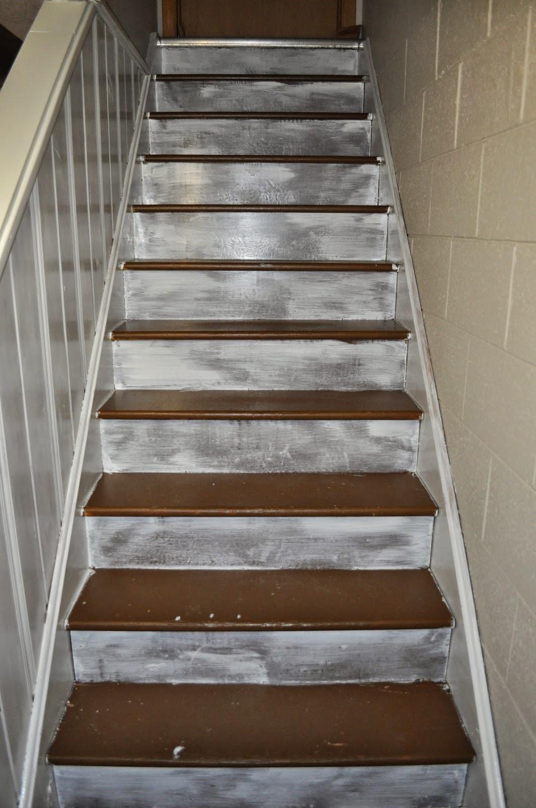 stairs, painting, basement, basement stairs, treads, risers, runner, lighting, paint