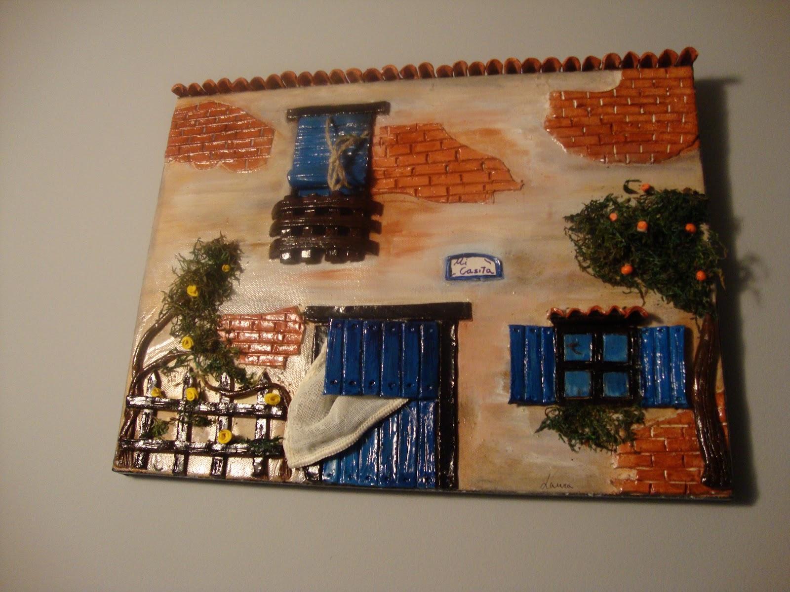 Tejas decoradas cuadro sobre lienzo en relieve azul - Cuadros en relieve modernos ...
