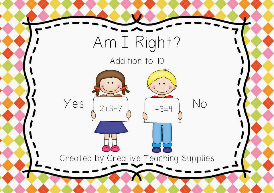 http://www.teacherspayteachers.com/Product/Am-I-Right-Addition-to-10-1053062