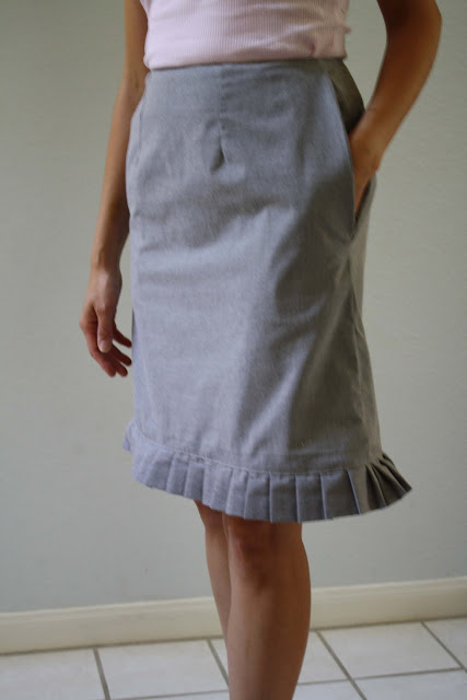 gift presents for women: pleated trim skirt refashion