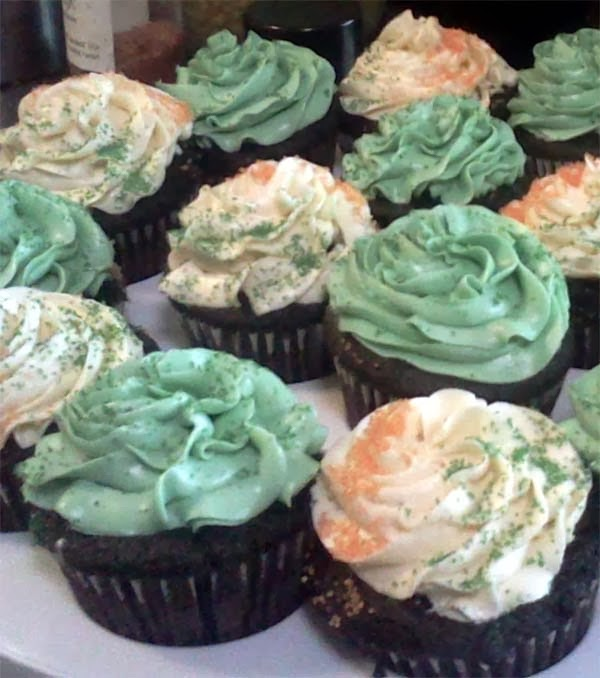 Guinness Chocolate Cupcake w/ Irish Whiskey Ganache Filling & Swiss Buttercream Frosting for St. Patrick's Day