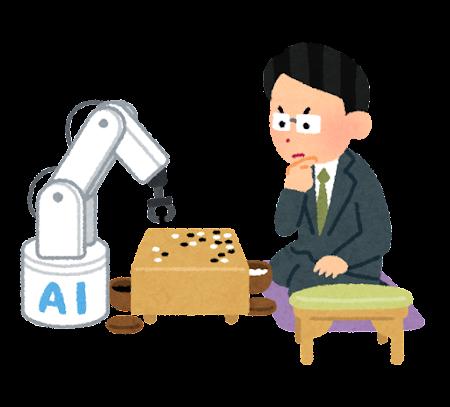 人工知能と戦う囲碁の棋士のイラスト