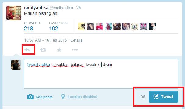 Membalas di twitter