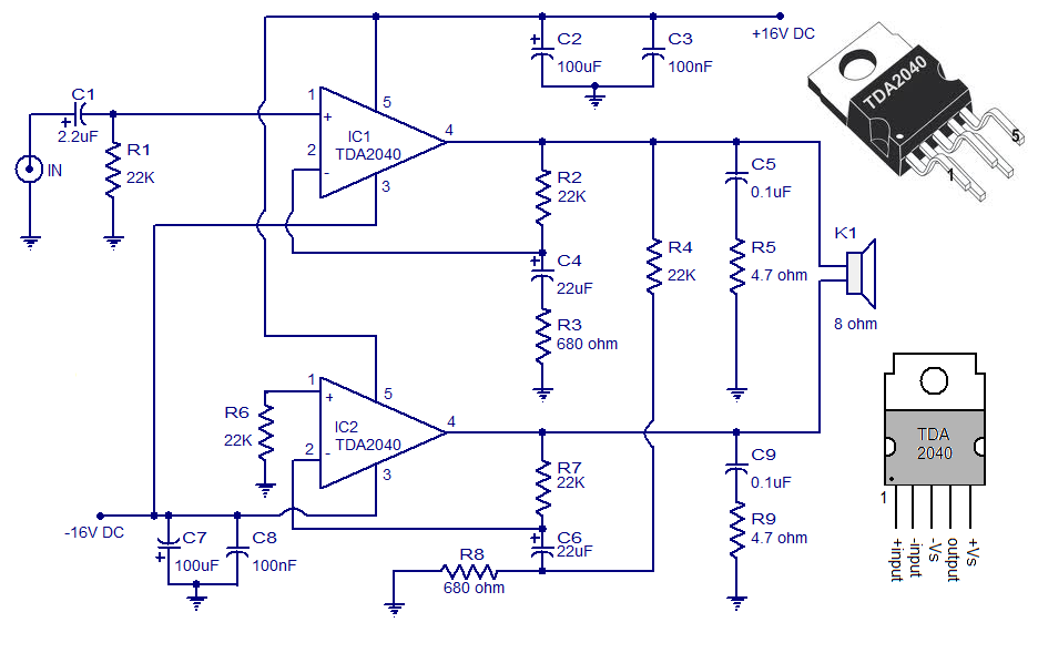 30 Watt Audio Amplifier Using Tda 2040